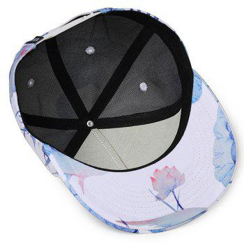 Unique Floral Ink Drawing Adjustable Baseball Cap - WHITE