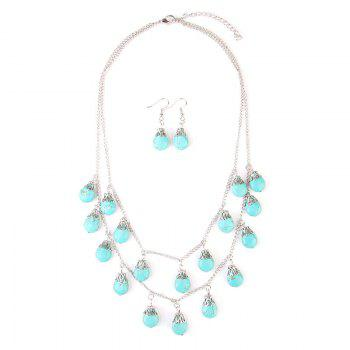Faux Turquoise Teardrop Layered Necklace and Earrings - SILVER SILVER