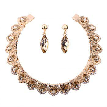 Vintage Rhinestone Torques with Earring Set - CHAMPAGNE CHAMPAGNE