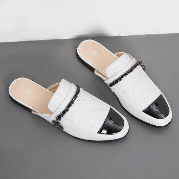 Chain Round Toe Mules Shoes - WHITE 39