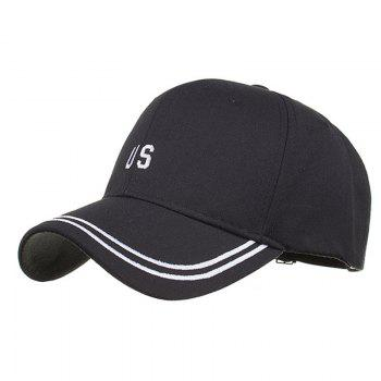 Unique US Embroidery Adjustable Sunscreen Hat - BLACK BLACK
