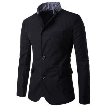 Stand Collar Casual Single Breasted Blazer - BLACK BLACK