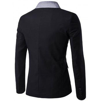 Stand Collar Casual Single Breasted Blazer - BLACK 2XL