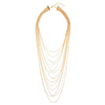 Layered Alloy Fringed Chain Necklace - GOLDEN GOLDEN