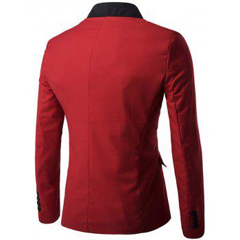 Stand Collar Casual Single Breasted Blazer - RED XL