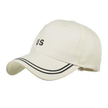 Unique US Embroidery Adjustable Sunscreen Hat - BEIGE BEIGE