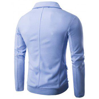 Casual Single Breasted Rib Panel Blazer - BLUE 2XL
