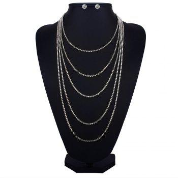 Rhinestone Layered Fringed Necklace with Earrings - SILVER SILVER