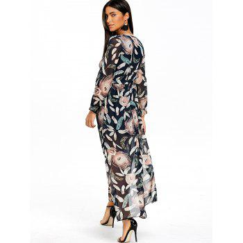 Feather Print Slit Surplice Maxi Dress - COLORMIX S