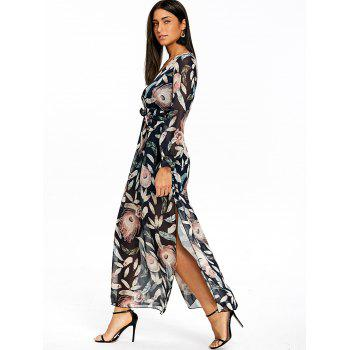 Feather Print Slit Surplice Maxi Dress - COLORMIX COLORMIX