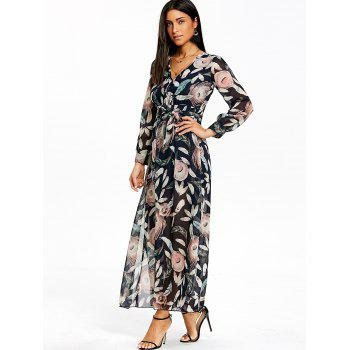 Feather Print Slit Surplice Maxi Dress - COLORMIX L