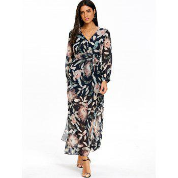 Feather Printed Surplice Dress - COLORMIX XL