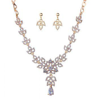 Rhinestone Leaf Sparkly Necklace and Earring Set - GOLDEN GOLDEN