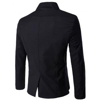 Asymmetric Single Breasted Blazer - BLACK BLACK