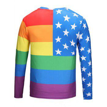 Crew Neck Star Pattern Rainbow Tee - COLORMIX XL