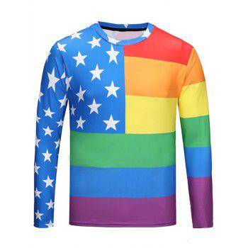 Crew Neck Star Pattern Rainbow Tee - COLORMIX COLORMIX