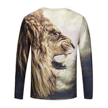 Crew Neck 3D Roar Lion Print T-shirt - BROWN L