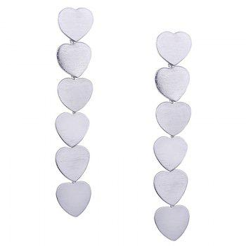 Simple Alloy Heart Layered Drop Earrings - SILVER SILVER