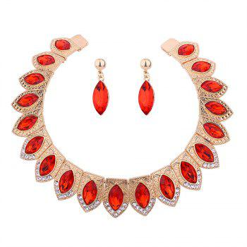 Vintage Rhinestone Torques with Earring Set - RED RED