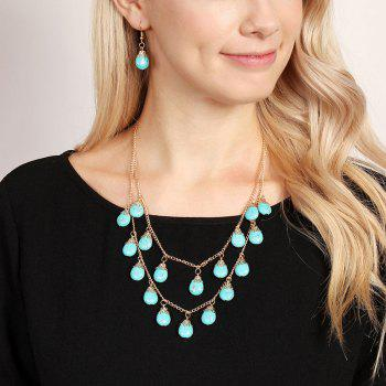 Faux Turquoise Teardrop Layered Necklace and Earrings - GOLDEN GOLDEN