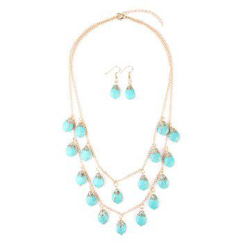 Faux Turquoise Teardrop Layered Necklace and Earrings -  GOLDEN