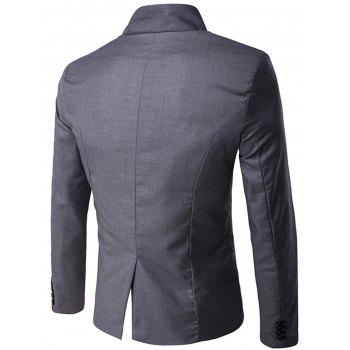 Asymmetric Single Breasted Blazer - DEEP GRAY XL