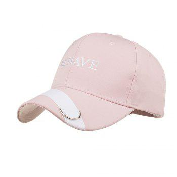 Metal Ring Letter Embroidery Adjustable Graphic Hat - PINK PINK