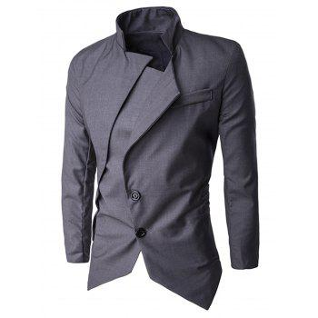 Asymmetric Single Breasted Blazer - DEEP GRAY DEEP GRAY