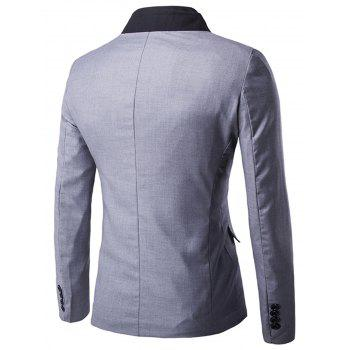 Stand Collar Casual Single Breasted Blazer - GRAY L