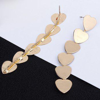 Simple Alloy Heart Layered Drop Earrings - GOLDEN