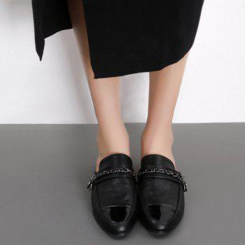 Chain Round Toe Mules Shoes - BLACK 39