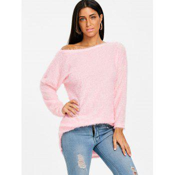 Fluffy Skew Neck Tunic Sweater - PINK PINK
