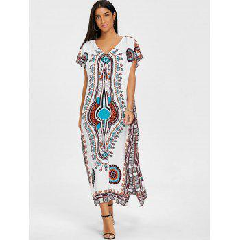 V Neck Ethnic Print Beach Dress - GREEN ONE SIZE