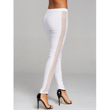 Cross Fishnet Side Pants - WHITE M