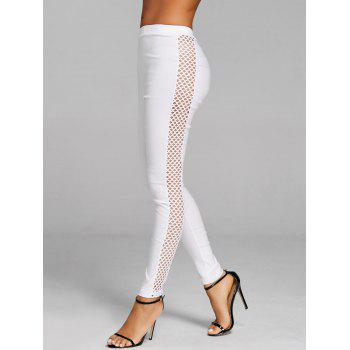 Cross Fishnet Side Pants - WHITE WHITE