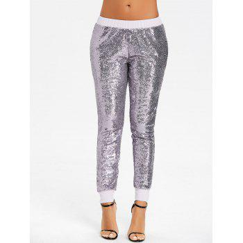 Sequins Glitter Joggers - SILVER SILVER