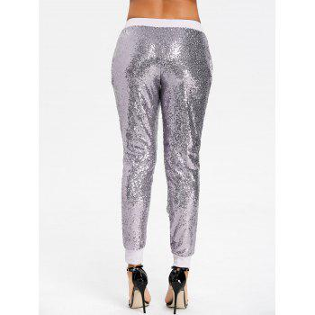 Sequins Glitter Joggers - SILVER S