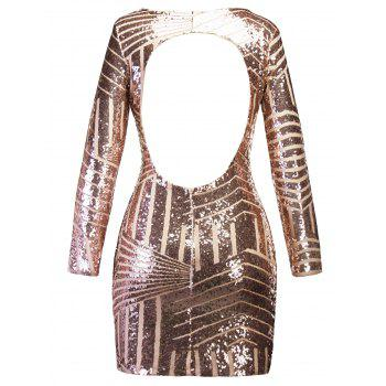 Backless Sequin Mini Bodycon Party Dress - GOLDEN GOLDEN