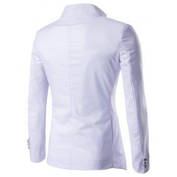Irregular Design Buttons Blazer - WHITE 2XL