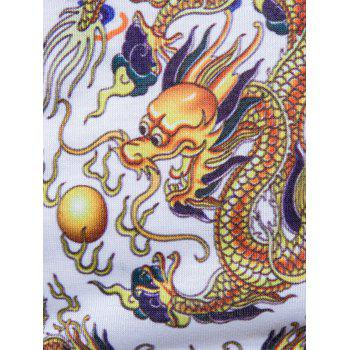 Chinese Style Dragons Print Vintage T-shirt - WHITE XL