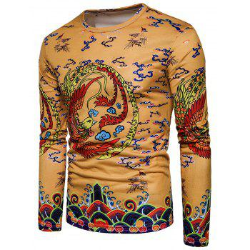 Long Sleeve Chinese Style Phoenix Print T-shirt - YELLOW 2XL