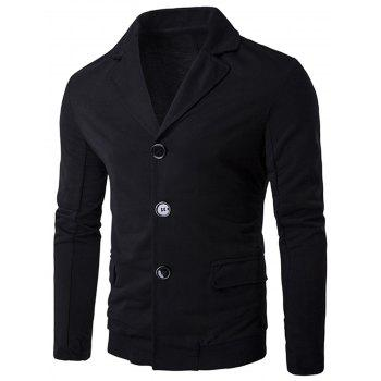 Casual Single Breasted Rib Panel Blazer - BLACK BLACK