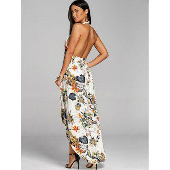 Low Cut Print Chiffon Dress - APRICOT S