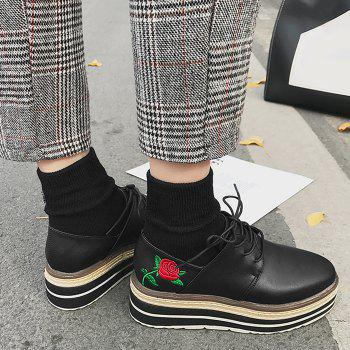 Floral Embroidery Square Toe Platform Chaussures - Noir 37