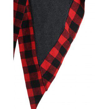 Asymmetric Plaid Panel Heap Collar Overlap Top - BLACK BLACK