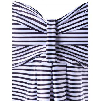 Striped Empire Waist Skirted Tankini Set - BLACK STRIPE L