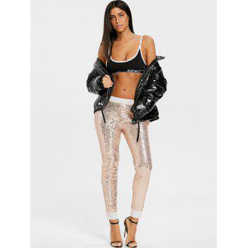 Sequins Glitter Joggers - GOLDEN L