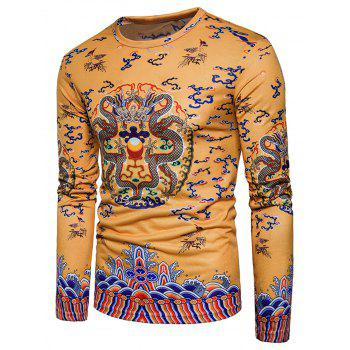 Long Sleeve Chinese Style Dragons Print T-shirt - YELLOW M