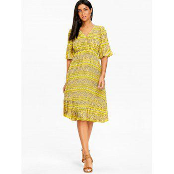 Bohemian Bell Sleeve Floral Midi Dress - YELLOW S