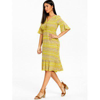 Bohemian Bell Sleeve Floral Midi Dress - YELLOW XL